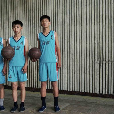 #45. (From L-R) RI BOM, 15, RYANG IL BOM, 15, RI SONG JIN, 15, Basketball Students, Kaesong Schoolchildren's Palace copy