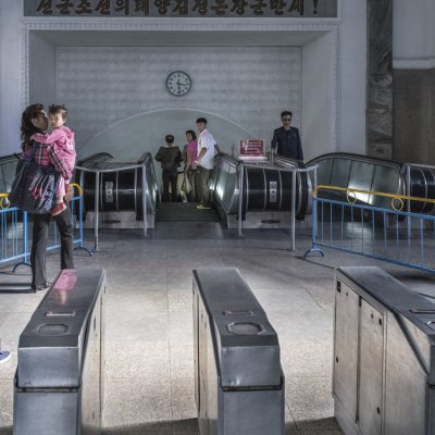 Pyongyang, DPR Korea Entrance to Rehabilitation Metro Station, Pyongyang. The Pyongyang metro is one of the deepest systems in the world and is made up of two lines with 16 stations.    © Carl De Keyzer - Magnum