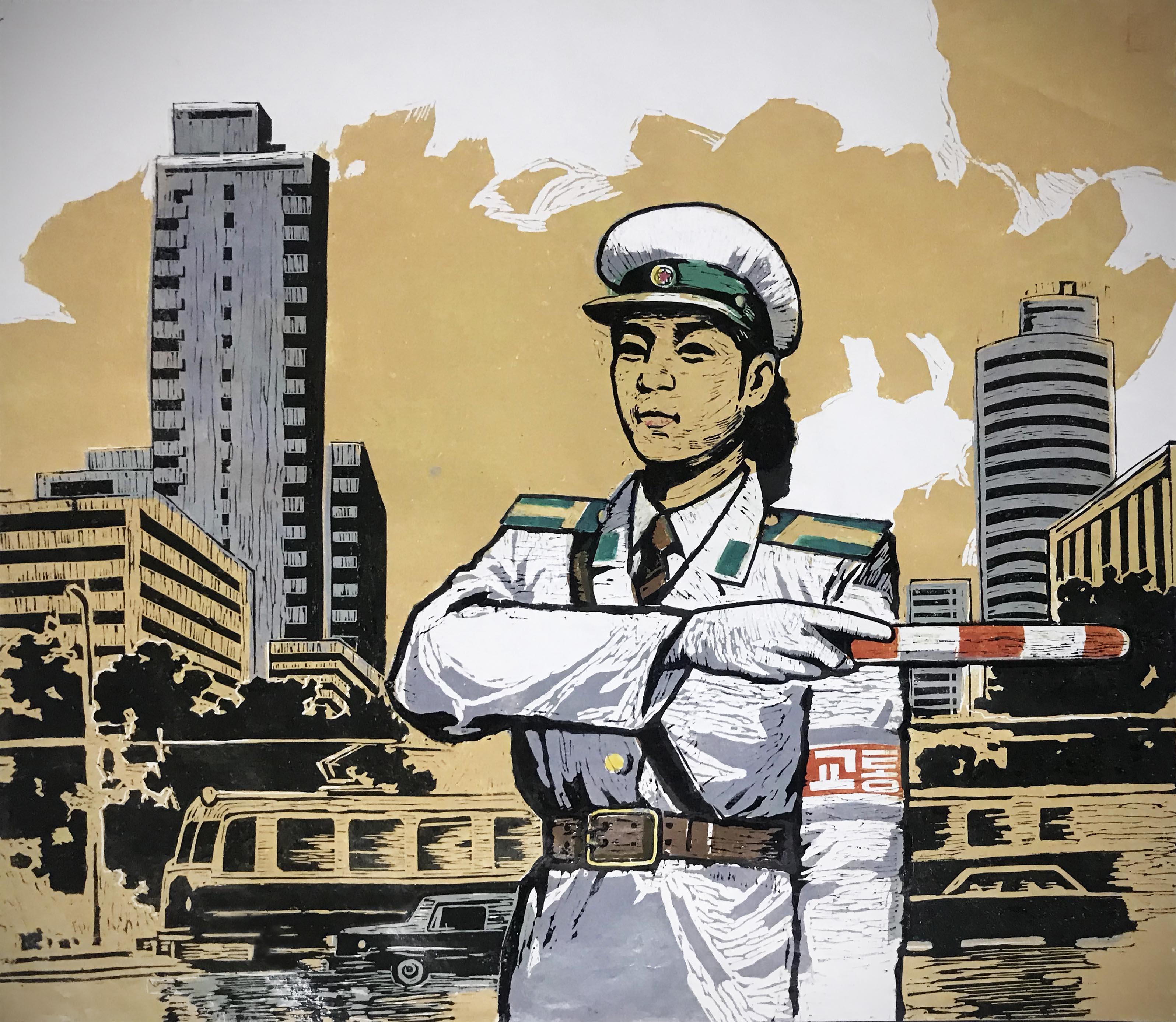 North Korean Linocut