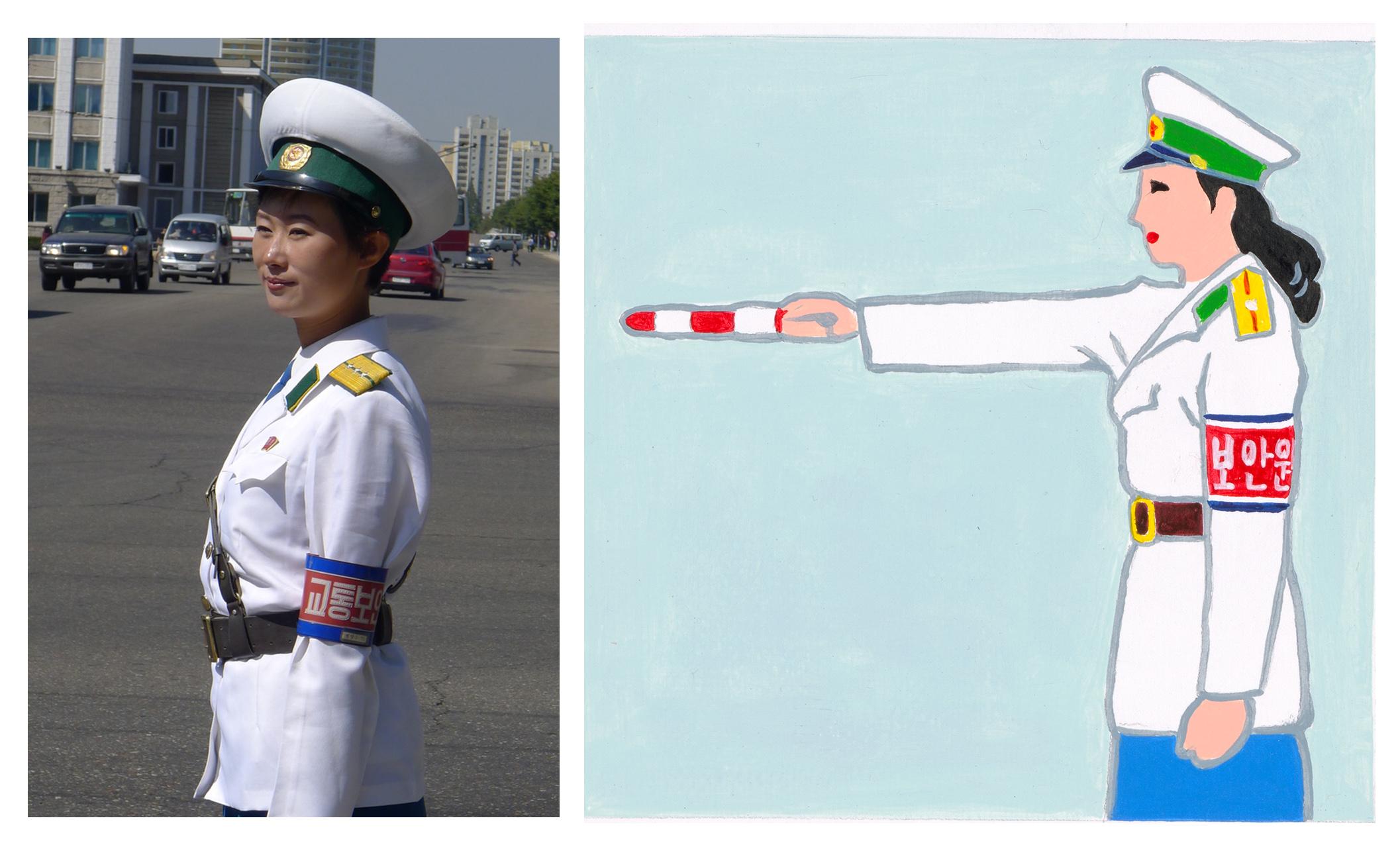 Traffic Officer, North Korean Painting
