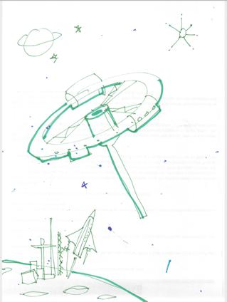Space Scene Linocut
